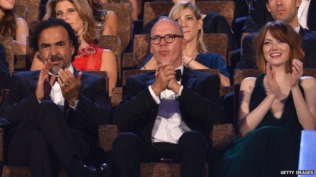 Birdman director Alejandro Inarritu with Michael Keaton and Emma Stone