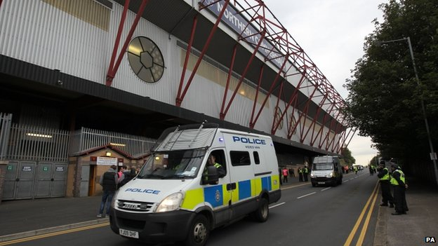Police outside Valley Parade