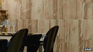 Tiled boardroom wall