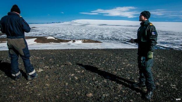 Scientists fixing equipment that broke down over Bardarbunga volcano, Iceland, 23 August 2014