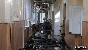 Debris in Donetsk school