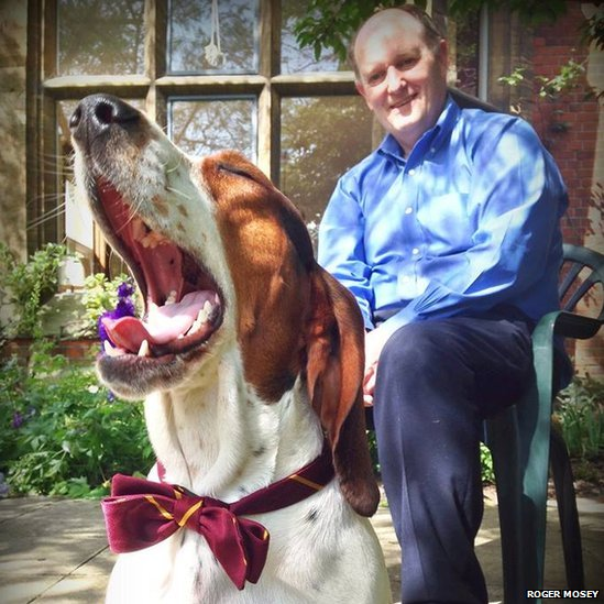YoYo the dog and Roger Mosey, master of Selwyn College