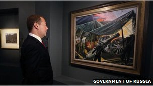 Russian Prime Minister Dmitry Medvedev at an exhibition, 28 August