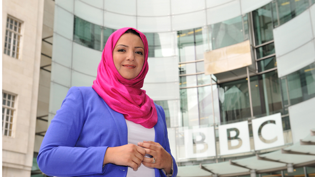 Shaimaa Khalil outside New Broadcasting House in London