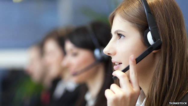Woman in call centre
