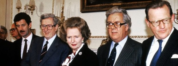 Margaret Thatcher, pictured at the signing of the Anglo Irish Agreement with from left to right, Irish Foreign Minister Dick Spring, Taoiseach Dr Garret Fitzgerald, Foreign Secretary Geoffrey Howe and Northern Ireland Secretary of State Tom King