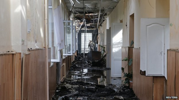 Destroyed school in Donetsk (28 August 2014)