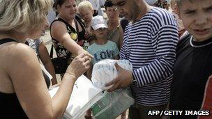 Man distributes aid