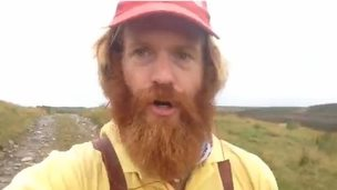 Sean Conway's selfie fall screen grab
