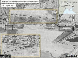 A satellite image provided to Reuters by Supreme Headquarters Allied Powers Europe (Shape) on 28 August 2014, taken by DigitalGlobe on 21 August  2014, shows what is reported by Shape to be a presence of Russian Self-Propelled Artillery in Ukraine.