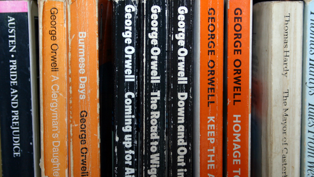 Shelf of George Orwell books