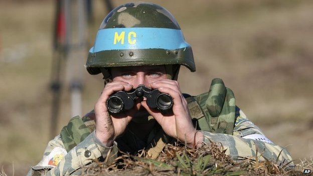 File photo taken on 5 December 2007 of a Russian peacekeeper near Ochamchire in Georgia's separatist region of Abkhazia.