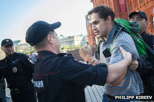 Dmitry Monakhov being arrested on Red Square in Moscow, 28 August