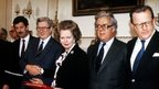 Margaret Thatcher, pictured at the signing of the Anglo Irish Agreement with from left to right, Irish Foreign Minister Dick Spring, Taoiseach Dr Garret Fitzgerald, Foreign Minister Geoffrey Howe and Northern Ireland Secretary of State Tom King