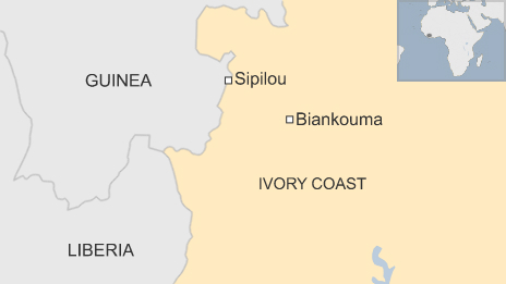 Map of western Ivory Coast showing the border crossing at Sipilou and the town of Biankouma