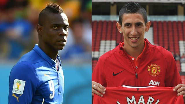 Liverpool striker Mario Balotelli and Manchester United record signing Angel Di Maria