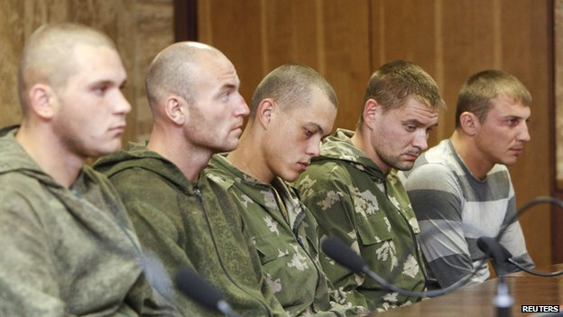 Captured Russian soldiers in Ukraine (27 Aug 2014)