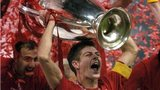 Steven Gerrard holds aloft the Champions League trophy