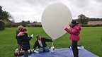 White balloon being inflated