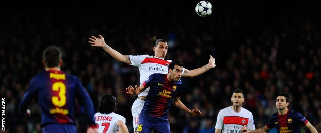 Zlatan Ibrahimovic  during the UEFA Champions League quarter final second-leg between Barcelona and PSG