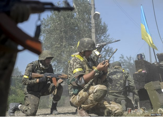 Ukrainian troops fighting in Ilovaisk