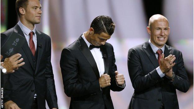 Manuel Neuer, Cristiano Ronaldo and Arjen Robben