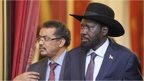 South Sudanese President Salva Kiir and Ethiopian Foreign Minister Tedros Adhanom Ghebreyesus (L)