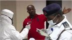 Health screenings at an airport in Nigeria