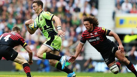 George North slips between tackles