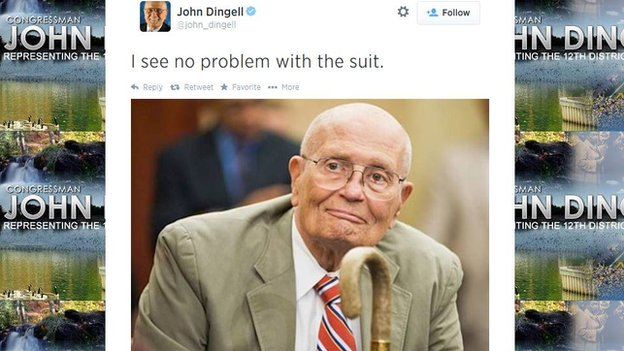 John Dingell tweets a picture of himself in a beige suit.
