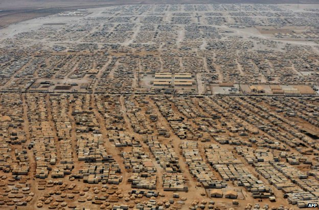 An aerial view shows the Zaatari refugee camp, near the Jordanian city of Mafraq - 18 July 2013