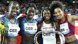 Great Britain team celebrates after winning the women's 4x100m relay