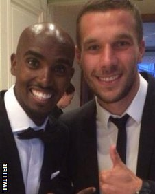 Mo Farah and Lukas Podolski