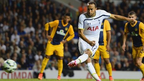 Andros Townsend scores Tottenham's third goal against AEL Limassol