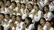 In this photo taken on 21 Aug 2003, North Korean women cheer at the Daegu Universiade Games in Daegu, south of Seoul, South Korea.