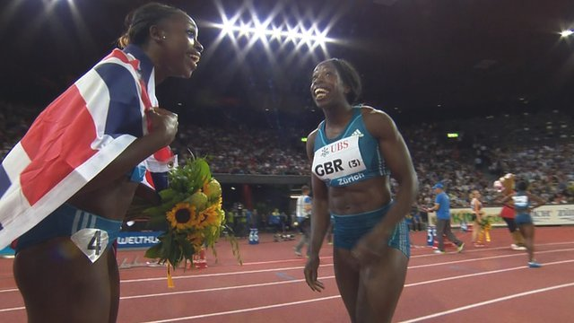 Desiree Henry and Anyika Onuora celebrate Great Britain's 4x100 relay win at the Diamond League meeting in Zurich