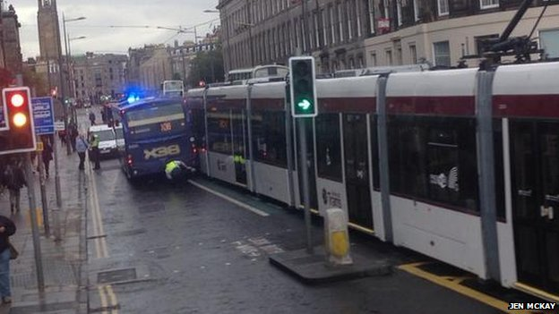 Tram and bus crash