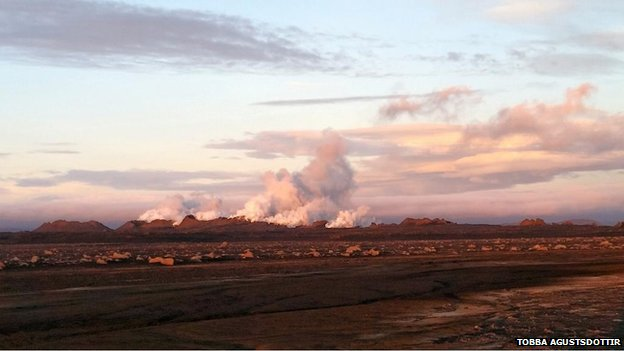 Shot of Bardarbung volcano in iceland August 28 2014