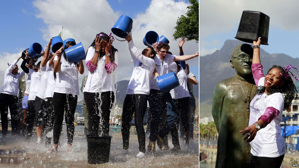 L: Reverend Mpho Tutu and other take part in an ice bucket challenge  for charity in Cape Town on Friday R: Reverend Mpho Tutu pours a bucket of water over a statue of her father Archbishop Desmond Tutu - Friday 22 August 2014