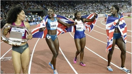 The Great Britain team with Ashleigh Nelson, Desiree Henry, Asha Philip and Anyika Onoura, from left to right, celebrates