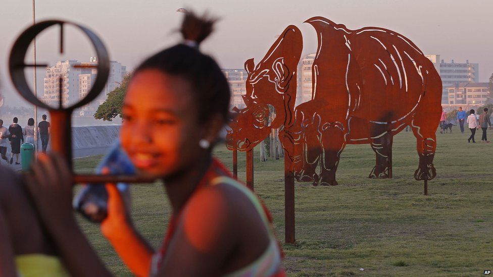 An open-air sculpture of a rhino and rifle scope seen in Cape Town - Sunday 24 August 2014