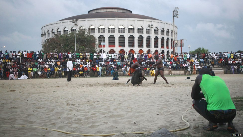 Wrestlers at Abidjan's sports palace, Ivory Coast - Sunday 24 August 2014