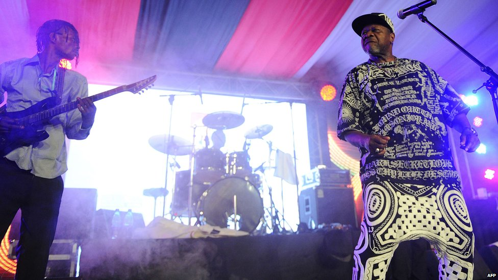Papa Wemba (R) performing in Nairobi, Kenya - Sunday 24 August 2014