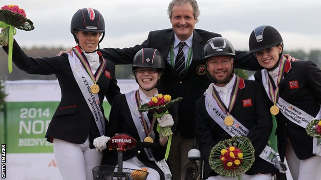 Sophie Wells, Sophie Christiansen, team captain David Hunter, Lee Pearson and Natasha Baker
