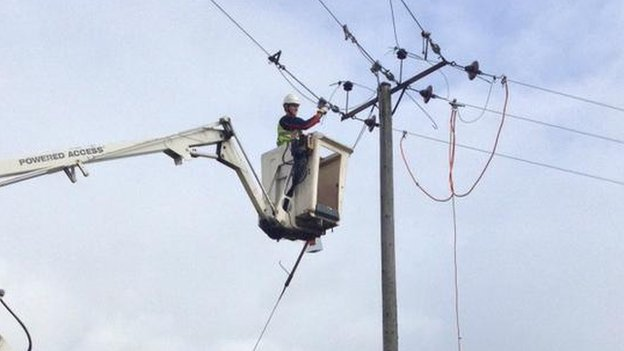 Engineers inspect power lines