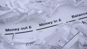 Shredded bank statement