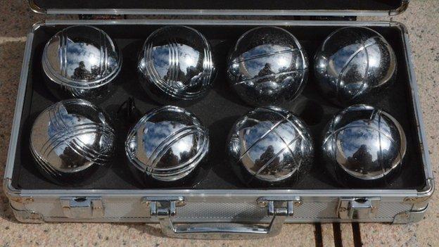 A set of petanque boules