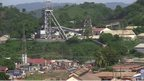 Aerial view of the town and mine in Obuasi, Ghana