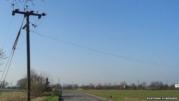 Thieves leave power line hanging over road in West Yorkshire