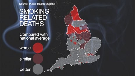 Graphic showing relative smoking death rates across England and Wales